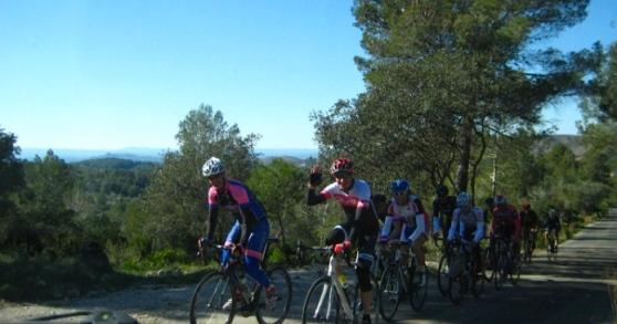 Pro bikers often practice on the narrow twisty road between Barx and Pla de Corrals.